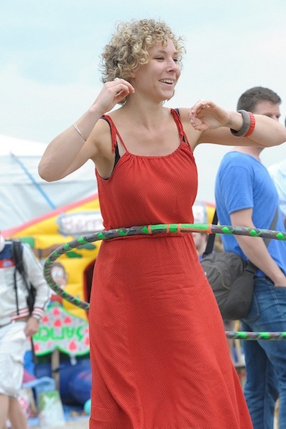 Hula hooping in organic apparel